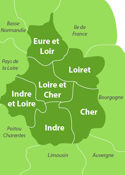 Carte des golfs dans le centre de la France