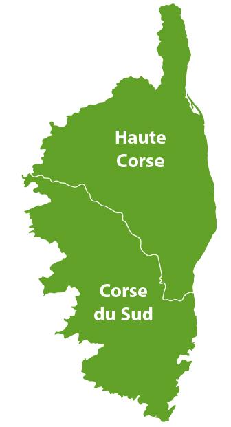 Carte des golfs en Corse