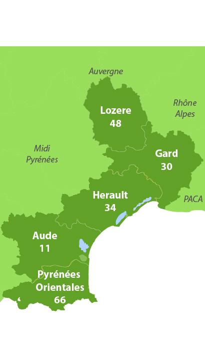 Carte des golfs dans le Languedoc Roussillon
