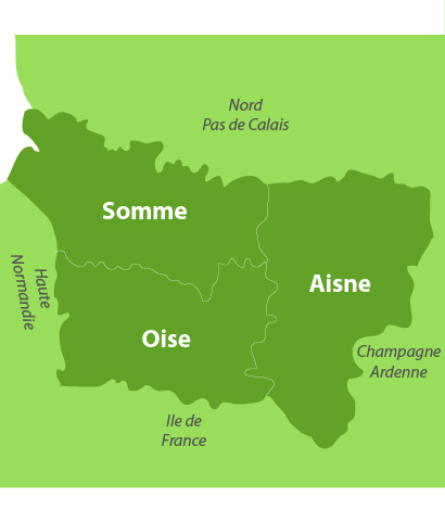 Carte des golfs en Picardie