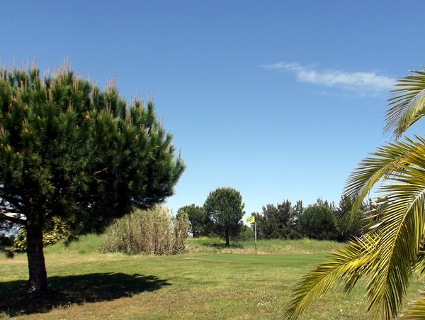 Approche de green du golf de Solenzara sur la Base aerienne 126 en Corse à Ventiseri
