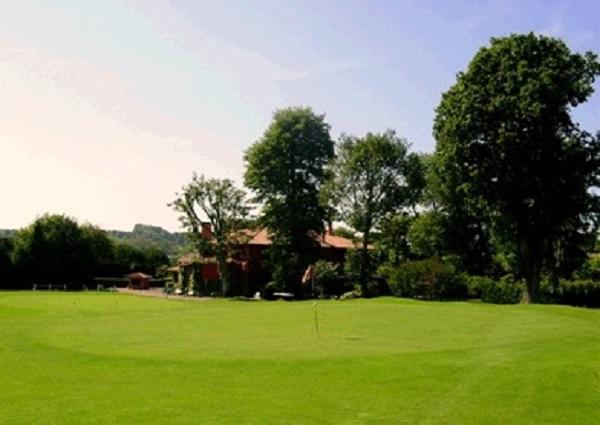 Green n°9 du golf de Chantaco dans les Pyrénées Atlantiques à Saint-Jean-de-Luz en Aquitaine