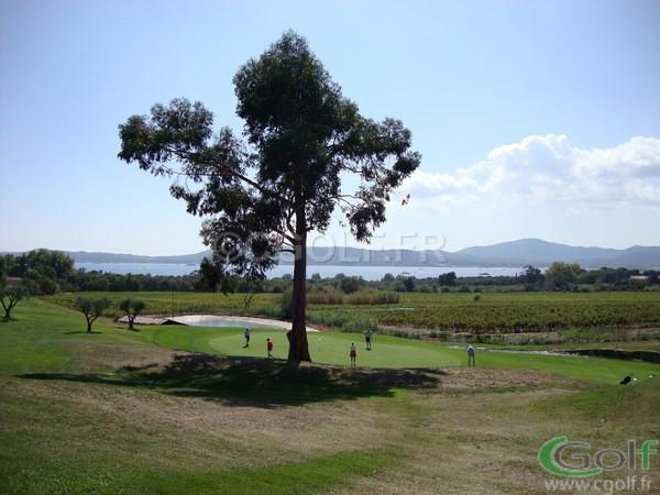 Le green du n°10 du golf de Beauvallon à Grimaud avec vue mer méditerranée
