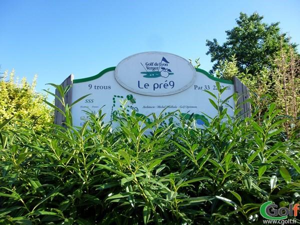 Panneau du golf de Lyon Verger parcours le Pré neuf en Rhône Alpes à Saint-Symphorien-d'Ozon