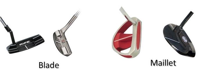 Les differents type de tête de putter de forme Blade ou de forme Maillet