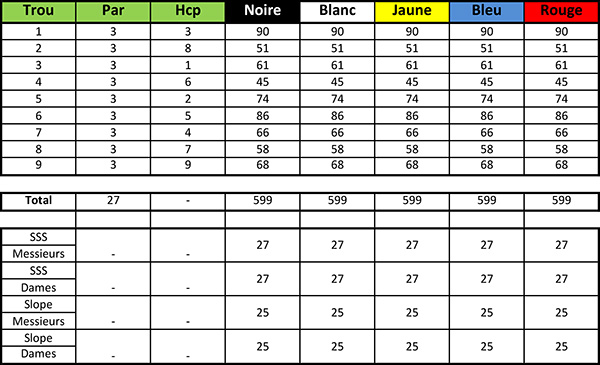Carte de score du Golf Blue Green Savenay Parcours Pitch and Putt
